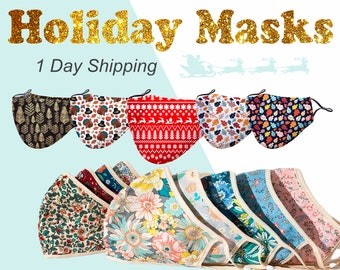 Fashion Floral Print Face Mask Reusable Washable for Adult Teens Kids Cloth Cover Cotton with Adjustable Ear Loops, Men, Women Face Masks