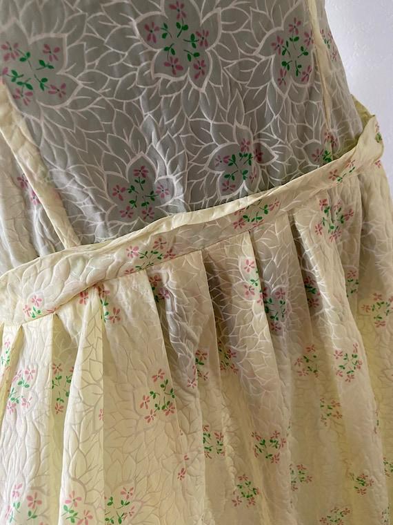 1950's Floral Dress/ Vintage Sheer Floral Print Su