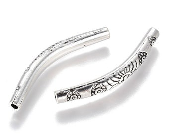 2 Tubes curved antique silver decoration small flowers 32x5mm