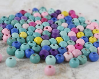 10 pounds Plastic craft macrame project 40mm 30mm 16mm mixed size colors tan yellow white pink blue red  C-BEAD-1