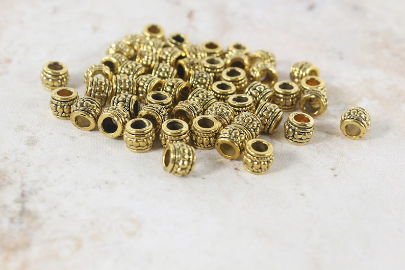 Antique silver bronze cooper Spacer barrel Metal Loose 3mm large hole Beads Supplies For DIY Jewelry Making bracelet making man jewelry bead