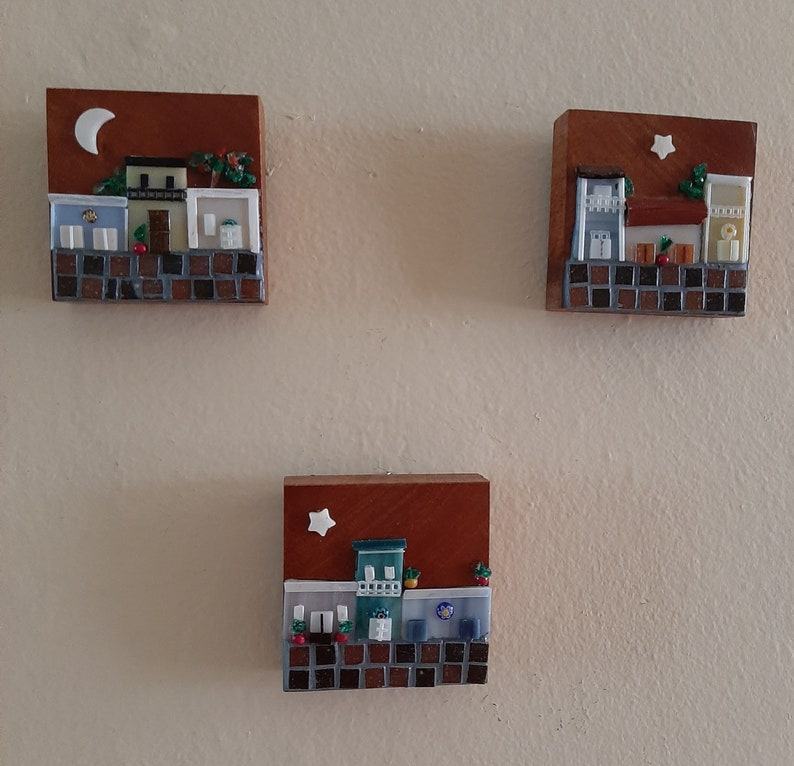 San Juan style houses in glass mosaic #4