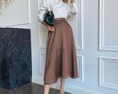 Vintage midi skirt Loose A-Line midi skirt High waist Polka Dot holiday female bottom skirts Brown ladies office long skirts 1970s