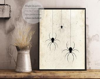 Halloween Print,Halloween Poster,Halloween Decor,Fall Decor,Halloween Party Sign,Spider printable,Halloween Spider Prints,Wall Art,Home art