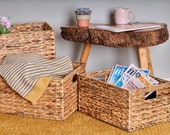 Water Hyacinth Storage Basket Handmade Storage Boxes Available In 3 Different Sizes Handmade Basket Wicker Storage Baskets