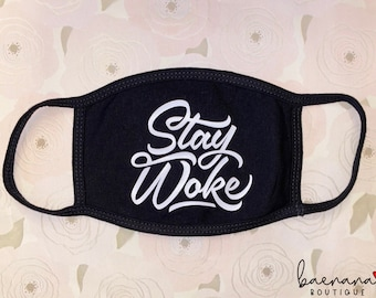 BLM Stay Woke double layered Cotton Face Mask   Washable & Reusable   Free shipping   Made in USA