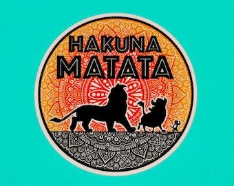 Hakuna Matata Lion King Disney Inspired Vinyl Sticker (WATERPROOF) Mandala Zentangle Sticker