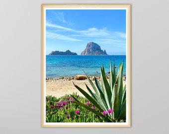Aloe Vera Meets Es Vedra Stunning Beach Printable | Digital Download | Coastal Print | Tropical Paradise Picture | Print At Home | Wall Art