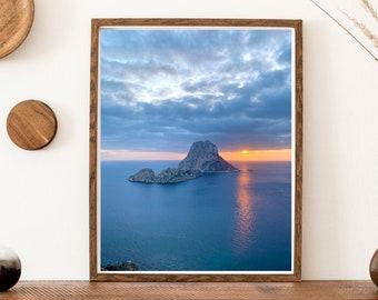 Es Vedra Magic Sunset Printable | White Island Printing | Seascape Print | Digital Download | Ibiza Wall Art | Coastal Print