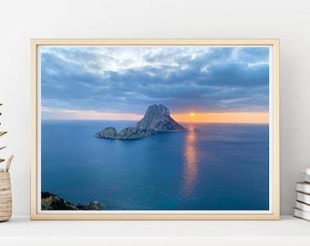 Es Vedra Magic Sunset Horizont Printable | White Island Printing | Seascape Print | Digital Download | Ibiza Wall Art | Coastal Print