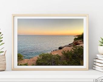 Mediterranean Sea View Sunset | Ibiza Beach Photography |  Beautiful Nature Landscape Poster | Instant Digital Print | Modern Wall Art