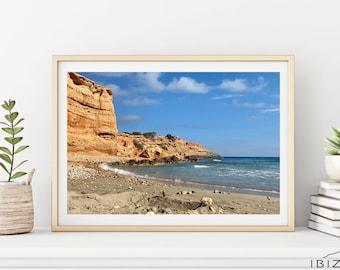 Sa Caleta Beach Print | Sea View Printable | Cristal Clear Blue Ocean Instant Digital Download | Beachy Landscape Poster