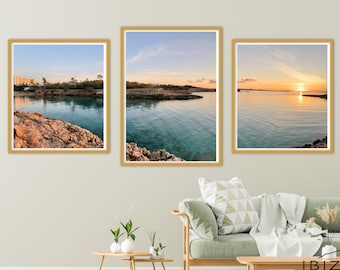 Ibiza Sunset Lovers Triptych |Tropical Beach Photography | Ocean Printable | Instant Digital Download | Seascape Poster | Modern Wall Art