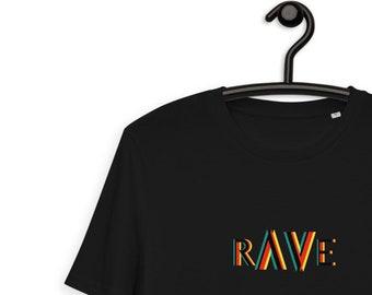 RAVE Unisex Organic Cotton T-shirt | Underground Party Shirt | Techno Rave Tee | Crazy Vegan Crewneck Shirt