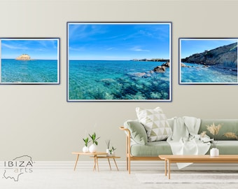 XXL Holiday Bay in Summer Paradise Triptych | Printable Wall Art | Beach Print | Summer Triptych | Cliff Home Decor | Nature Photography