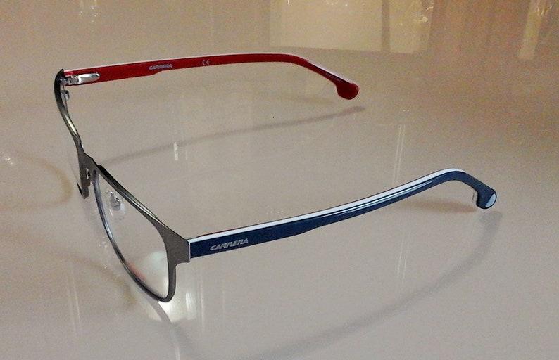 New Men's CARRERA 1104/V Matte Eyeglasses Red, White, Blue temples Original Case