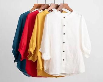 cotton line shirt apron match the shirt great choice handmade-white blouse travel cloth-summer