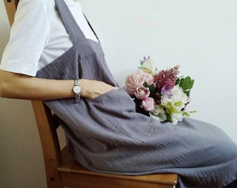 Bluish grey Natural washed cotton linen with pockets, adjustable apron dress one size , Cross behind loose pinafore dress