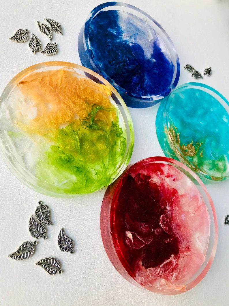 Vibrant Colourful Smoke Illusion Handmade Resin 4 piece Coaster Contemporary Geometric Trinket Tray Set