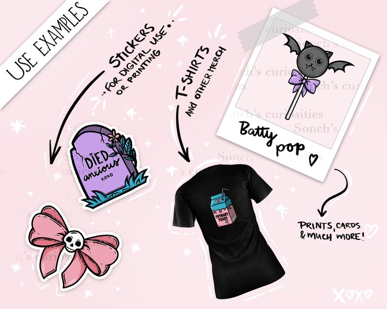 creepy  spooky cute kawaii png files digital download for planners Pastel goth clipart prints etc. stickers journals
