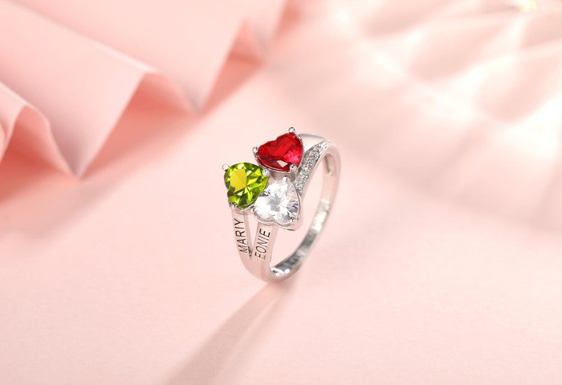 Multi Stone Ring for Women Personalized Name Ring Birthstone Rings Sterling Silver Ring for Mom Promise Ring Mothers Ring Gifts for Her