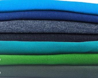 Knit ribbing for sweatshirt cuffs, waistband and collars; 2x2 rib knit fabric