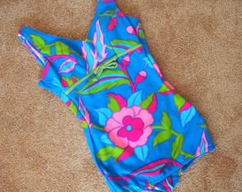 Vintage 1960s bright floral one piece swimsuit size L || mod retro groovy 60s swimwear