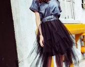 Tulle denim dress Black dress Bohemian dress Lolita dress Evening dress Summer dress Denim dress Bridesmaid dress Party dress Tulle dress