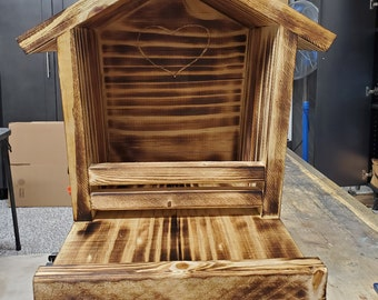 Large Handmade Dove House with Feeding Platform and Torched Finish. Sealed and Waterproofed.