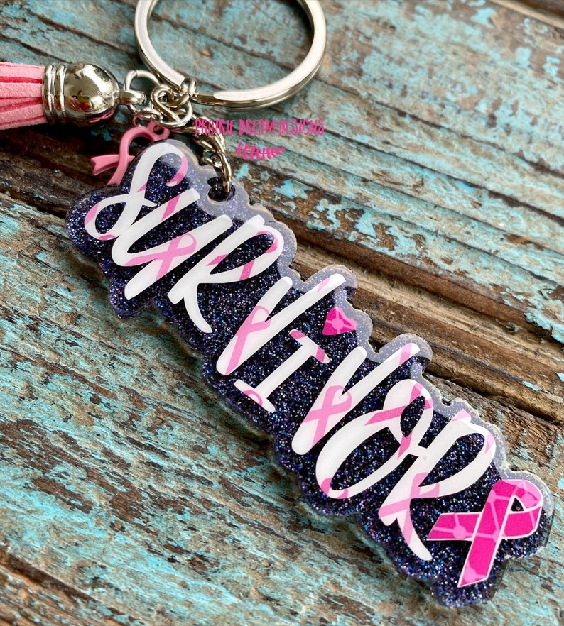 Survivor Keychain Breast Cancer Keychain Breast Cancer Awareness Breast Cancer Survivor Keychain Pink Ribbon Breast Cancer gifts