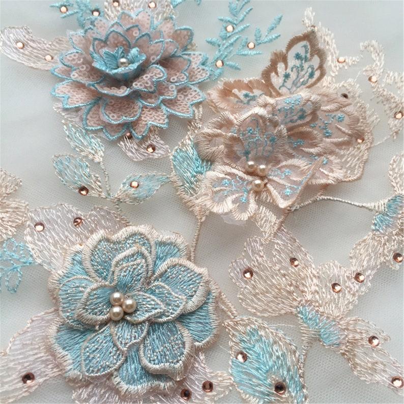 4 Colors 3D Beaded Lace Applique Floral Lace Applique Evening Gown Lace Embroidery Tulle Lace Applique By The Piece Prom Dress Patch