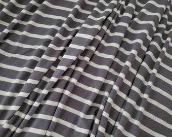 Grey Olive/Ivory, Striped Knit Fabric, Rayon Spandex, Knit Fabric by the Yard, Fall Knit Fabric, Winter Knit Fabric, Apparel Fabric