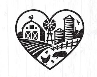 Farm Scene svg, Barn Animals in Heart Frame, Pig Chicken Farmhouse Sign png, Home Kitchen Decor, Love Farming Life, Clipart Digital Download
