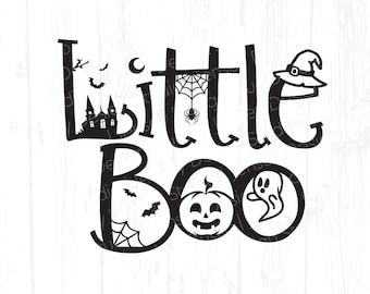 Little Boo svg, Baby First Halloween png, Cute Fall Kids DIY Shirt, Infant Newborn Boy Girl Design, Spooky Ghost Spider, Cricut, Silhouette