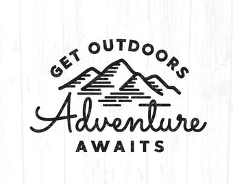 Adventure Awaits svg, Explore More, Hiking Shirt png, Camping Quote Travel png, Hike Outdoor Decor Sign Clipart, Camp Life Bucket Design dxf