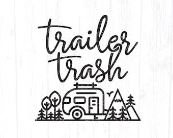 Trailer Trash svg, Funny Camping svg, Camp Crew Friends Design, Camper Trash Can Sign, Light Up Bucket Art, Decor Clipart Instant Download