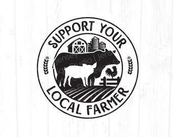 Support Your Local Farmer svg, Cow Pig Chicken Farmers Market png for Tote Bag, Barn Animals Farm Shirt Design, Clipart Instant Download