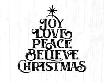 Christian Christmas svg, Tree of Joy, Love, Peace, Believe svg for Cricut, Religious Holiday Home Decor svg, Farmhouse Printable PNG Clipart
