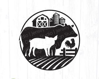 Farm Animal svg, Cow Pig Chicken Farmhouse Home Kitchen Decor png, Farmers Market Sign, Circle Ranch Farming Logo, Clipart Digital Download