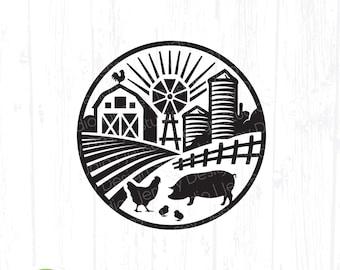 Farm Scene svg, Barn Animals Round Circle Frame, Pig Chicken Farmhouse Sign png, Home Kitchen Decor, Farmer Life, Clipart Digital Download