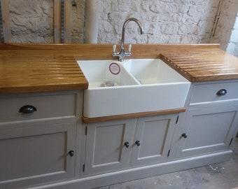 Handmade Double Belfast Sink Unit With Wide Board Oak Worktops