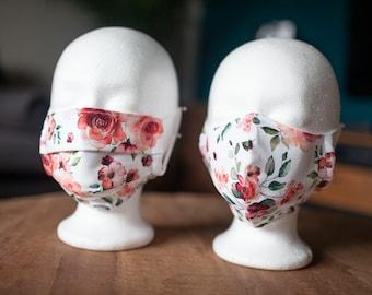 Makeshift Mouth Nose Mask / Mask / Face Mask / Makeshift Mask White Red Roses