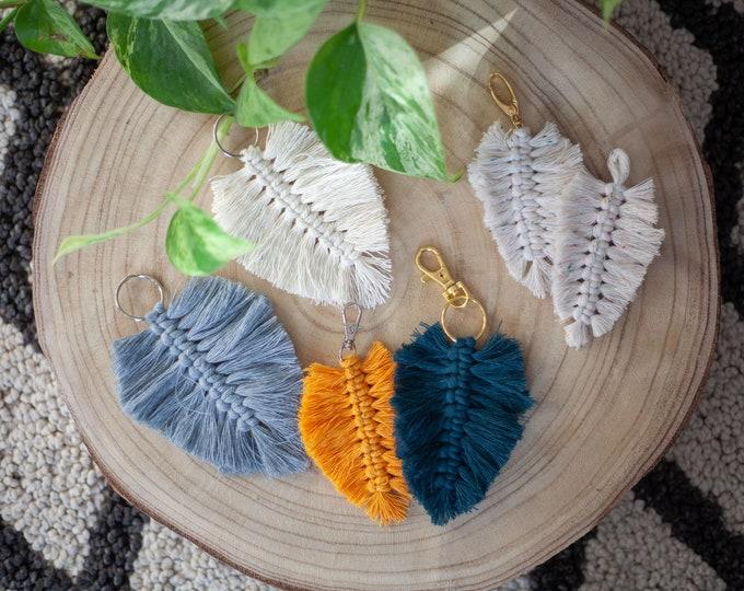 Featured listing image: Macrame keychain feather - boho leaf - wall decoration, pocket pendant, gift tag