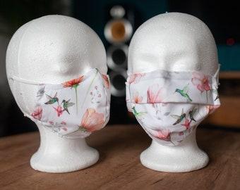 Makeshift Mouth Nose Mask / Mask / Face Mask / Makeshift Mask White Hummingbird Flowers