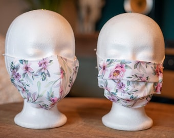 Makeshift Mouth Nose Mask / Mask / Face Mask / Makeshift Mask White Flowers