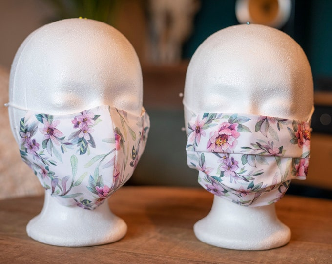 Featured listing image: Makeshift Mouth Nose Mask / Mask / Face Mask / Makeshift Mask White Flowers