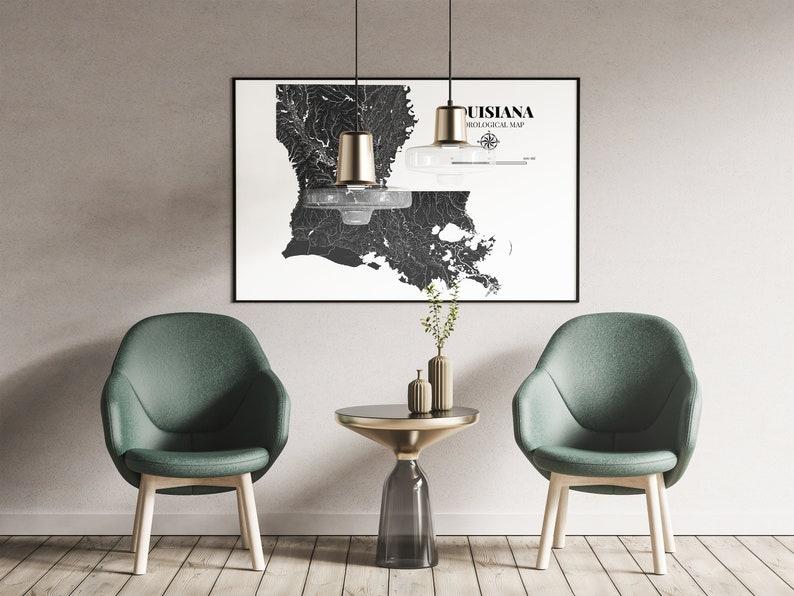 Louisiana Hydrological Map Poster Black