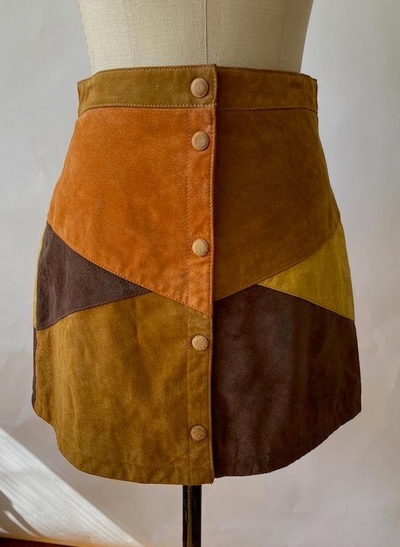 Vintage 1970s Brown Rust Gold Patchwork Hippie Sue
