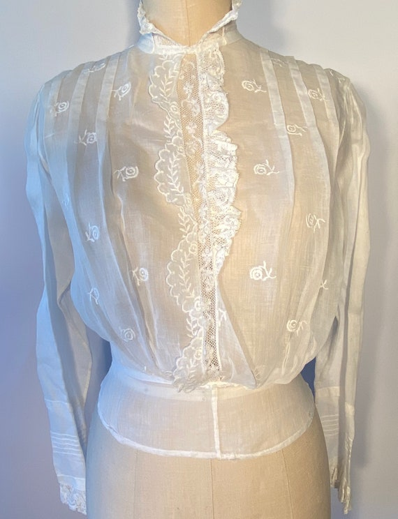 Vintage Victorian 1900s White Lace Embroidery Blou