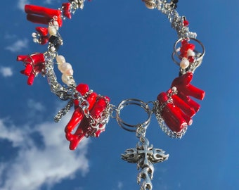 Pearl Gothic Cross Vintage Style Jewelry Angel Statement Necklace Guardian Goth Jewellery Artisan Jewelry Red